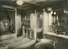 R.M.S. Titanic. Interior of First Class Cabin in Dutch Renaissance style.