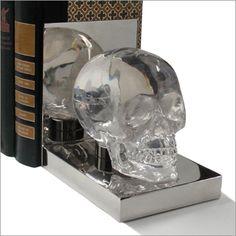 ~Phyllis Morris skull bookends~