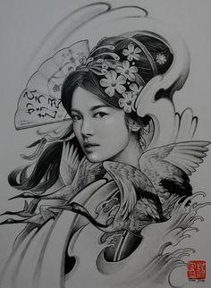 Desenhos de gueixas facebook leandro carlos tattoo - Tattoos geishas japonesas ...