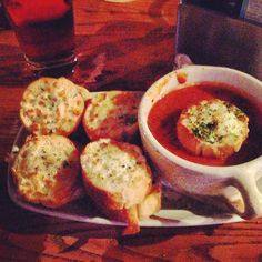 Photo by mcentis - Tomato and Bacon soup with grilled cheese croutons.