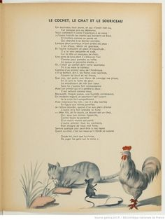 Fables de La Fontaine | Gallica French Poems, Les Fables, Photo Chat, Learn French, French Language, Culture, Illustration, Image, Quotes
