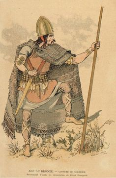 Bronze Age warrior costume. Reconstructed from the discoveries of Abbe Boureois. Illustrations created in 1910 portraying warriors based on archaeological finds from the Bronze Age.