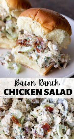Perfect for lunch or dinner, thisBacon Ranch Chicken Salad is filling, nutritious and tasty! The great flavors of ranch dressing mixed with bacon take this Chicken Salad Recipe to the next level! A Low Carb and Keto friendly compliant lunch option. #chickensaladrecipes #lunchrecipes #chickenrecipes #lowcarbrecipes #ketorecipes Easy Salad Recipes, Easy Salads, Healthy Chicken Recipes, Side Dish Recipes, Pork Recipes, Lunch Recipes, Whole Food Recipes, Healthy Salads, Dinner Recipes