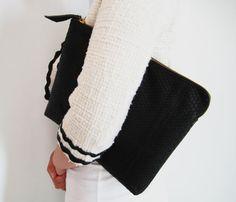 Black Python Snakeskin Zippered Leather Clutch Bag