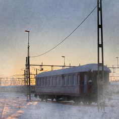 Tram in snow, Sweden