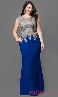Floor Length Sleeveless Illusion Bodice Dress at PromGirl.com