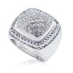 Anel Prata e Diamantes Plie