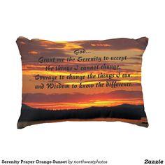Serenity Prayer Orange Sunset Accent Pillow