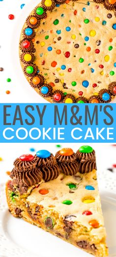 This M&M's Cookie Cake Recipe is a fun and easy dessert recipe the whole family will enjoy. A giant cookie made with M&M's and chocolate frosting for even more deliciousness! Desserts Easy M&M's Cookie Cake Recipe M&m Cookie Cake Recipe, Giant Cookie Cake, Sugar Cookie Cakes, Cookie Cake Birthday, Mms Recipe, Cookie Cake Icing, Giant Cookie Recipes, Recipe 52, Easy Birthday Cake Recipes