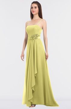 339c4aa4eef Daffodil Modern A-line Spaghetti Sleeveless Appliques Bridesmaid Dresses  Pale Yellow Bridesmaid Dresses