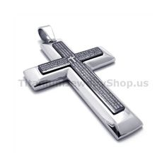 Embedded silver small cross gold fashion titanium cross pendant two layers pure titanium black cross pendant free chain 19300 aloadofball