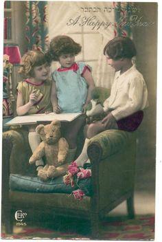 Judaica Children Teddy Bear Happy New Year Postcard France | eBay