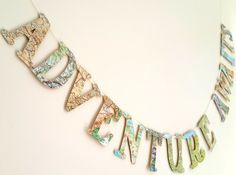 Adventure Awaits Bon Voyage Banner- World Map Farewell Garland / Banner- Map Decor - Bon Voyage Party- Farewell Party Decoration