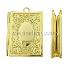 Messing Medaillon Anhänger, Rechteck, goldfarben, frei von Nickel, Blei & Kadmium