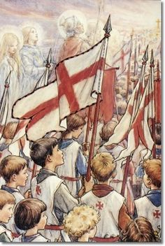 """This painting reminds me of the mind picture I saw when we sang """"Onward Christian Soldiers"""" in Sunday School when I was a child. We must continue to fight for our belief and for the freedoms America's foundation was based on. Jesus was in the hearts of our forefathers.  Cicely Mary Barker - Religious Works - Onward Christian Soldiers Painting"""