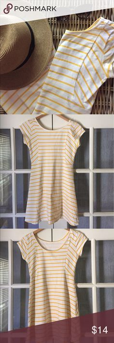 Striped yellow sundress 🍋 Boutique brand striped yellow sundress with slight scoop back. Above the knee. Stretch fabric with flattering cut. Gently used, see photos for two small spots/color fading. Perfect picnic or BBQ attire! Make me an offer🍍 Element Dresses Mini