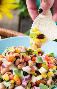 Texas Caviar- a chilled dip that's perfect with tortilla chips are eaten alone.