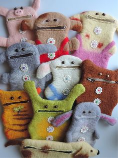 Handmade funny pouches Wool pouches Felted by MarusyaKacharizkina