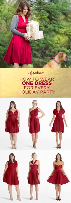 Wear just one festive dress for every holiday part this season! The Sakura Convertible dress can be worn in over 40 ways! Infinity Dress Ways To Wear, Infinity Dress Styles, Vestido Convertible, Convertible Clothing, Infinity Dress Tutorial, Tie Dress, Dress Up, Diy Camisa, Victoria Fashion