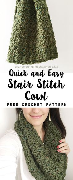 Chunky Tweed Stair Stitch Cowl - FREE crochet pattern.