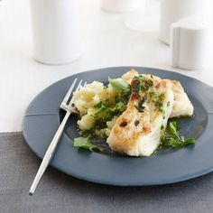 Thyme-Crusted Buttery Halibut with Parsley Sauce | Larry Stone makes this simple dish with halibut cheeks, an inexpensive part of the fish thats especially luscious.