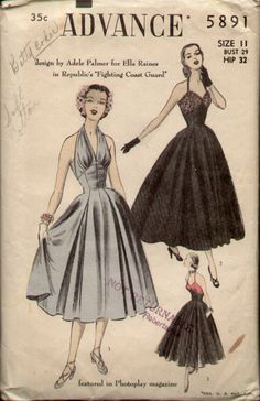 Advance 5891 circa 1951 halter dress designed by Adele Palmer for Ella Raines in the 1951 movie Fighting Coast Guard also totally Marilyn!
