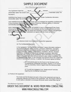 Sample Non-Disclosure Agreement Form Template | Startup Legal ...