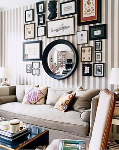 Gallery Wall Inspiration - mix of mirrors and room design design ideas house design Decor, Gallery Wall Inspiration, Apartment Inspiration, Decor Inspiration, Interior Design, Inspiration Wall, Interior, Striped Walls, Home Decor