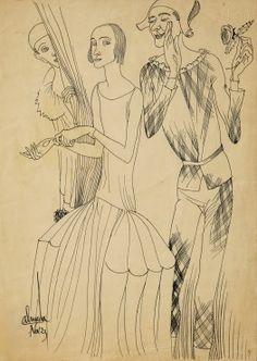 Sem título, tinta da China sobre papel, Novembro de 1923 Sketch Journal, Sculptures, Sketches, Drawings, Journals, Portugal, Paintings, Style, November Born