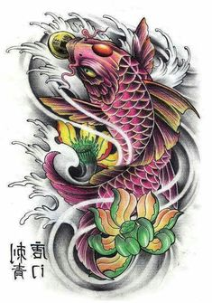 Ten Great Koi And Lotus Flower Tattoo Designs Ideas That You Can Share With Your Friends Pez Koi Tattoo, Koi Dragon Tattoo, Koi Tattoo Sleeve, Carp Tattoo, Japanese Sleeve Tattoos, Koy Fish Tattoo, Koi Tattoo Design, Lotus Flower Tattoo Design, Flower Tattoos