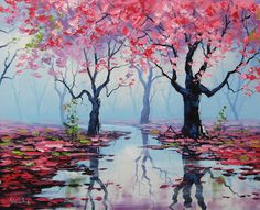 PINK WALL ART Decor Tree Paintings pink landscape Trees River painting by Graham gercken by GerckenGallery on Etsy