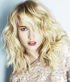 A long blonde straight wavy shaggy coloured Womens haircut hairstyle by Headmasters