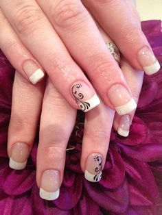 Cool White french With Black Swirl Nail Art Designs For Beginners