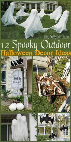 16 Outside Halloween Decoration Ideas. Our cheap diy halloween yard decor ideas are sure to put a spell on them from spooky door decorations to  Diy Halloween, Deco Haloween, Looks Halloween, Spooky Halloween Decorations, Halloween Projects, Halloween Party Decor, Holidays Halloween, Halloween Treats, Happy Halloween