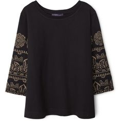 Violeta BY MANGO Embroidered Cotton Sweatshirt (370 RON) ❤ liked on Polyvore featuring tops, hoodies, sweatshirts, embroidered cotton top, sweat shirts, sweat tops, mango sweatshirt and 3/4 sleeve tops