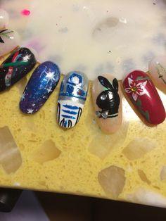 Playboy nail art , red flower , r2d2 , galaxy nails