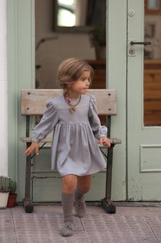 sweet dress with knee socks.