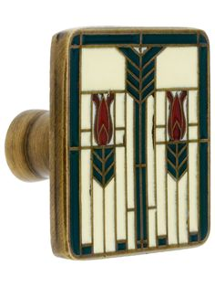 """Prairie Tulips Cabinet Knob With Enamel Inlay - 1 1/4"""" Square 