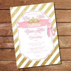 Ballet Party Invitation - Pink and Gold Ballerina Party Invitation - Instant…