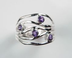 Amethyst Ring  Purple Wave Gemstone Ring  by FantaSeaJewelry, $94.00