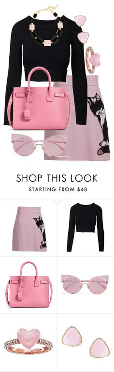 """Untitled #347"" by vartineh ❤ liked on Polyvore featuring MSGM, Yves Saint Laurent, Fendi, Michael Kors, Ottoman Hands and DIANA BROUSSARD"