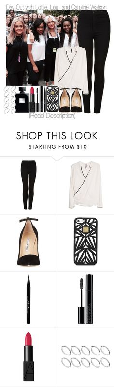 """""""Day Out with Lottie, Lou and Caroline & 1D Tag"""" by elise-22 ❤ liked on Polyvore featuring Topshop, MANGO, Manolo Blahnik, Hervé Léger, Stila, Giorgio Armani, NARS Cosmetics, ASOS, day and blackandwhite"""