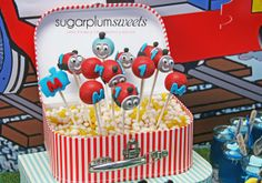 Cake pops at a Train Party #trainparty #cakepops