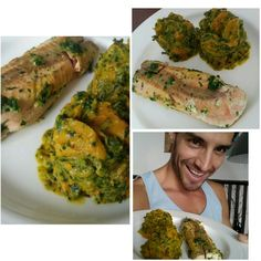 Living it up! Wild-caught Salmon with Tumeric-Spinach-Coconut Milk-Sweet Potato Mash