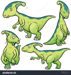 Vector Illustration Of Dinosaurs Cartoon Character Set - 485276632 : Shutterstock