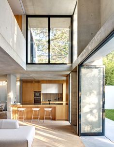 The Design Files - A Stacked Concrete House. House Design A Stacked Concrete House Concrete Architecture, Modern Architecture House, Interior Architecture, Architecture Drawing Plan, Interior Modern, Grand Designs Houses, Casa Loft, Concrete Interiors, Rustic Loft