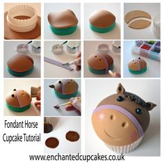 Fondant horse cupcake topper tutorial from www.enchantedcupcakes.co.uk  https://www.facebook.com/EnchantedCupcakes/photos/a.247698655325615.53490.247698138659000/844222322339909/?type=3&theater