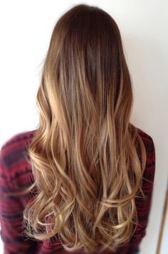 Brown to blonde ombre or golden blonde highlights? I'm not sure, but I like it!