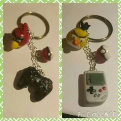 Key chains gamer set: playstation joystick, old nintendo,pokèball and angry birds. Polymer clay (fimo)