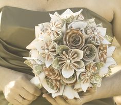 Lovely paper bouquet!  www.herecomestheflowers.com